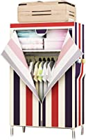 Electz Closet Wardrobe Portable Clothes Storage Organizer with Metal Shelves and Dustproof Non-woven Fabric Cover,4