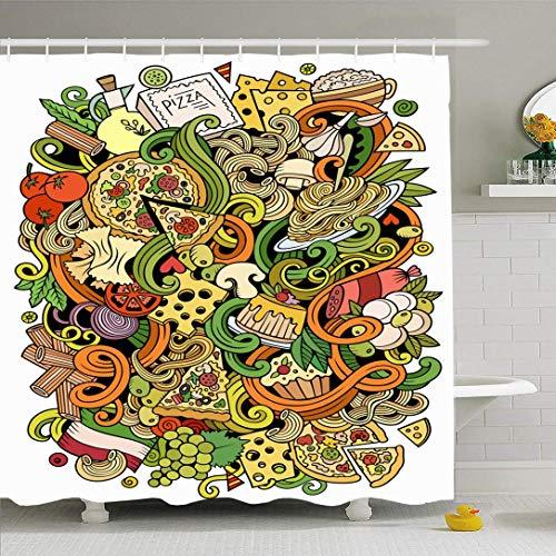 Ahawoso Ensemble de rideau de douche avec crochets Huile de tranche de nouilles Doodles mignons Décoration de thème Vigne à la main Dessiné détaillé Nature italienne Boisson alimentaire Tissu polyeste