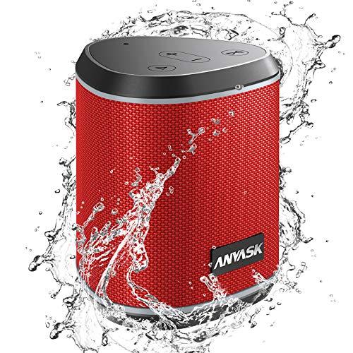 Bluetooth Lautsprecher IPX7 Wasserschutz, ANVASK 5.0 Tragbarer 360° Stereo Sound with TWS, 24h Akku, Eingebautes Mikrofon, Wireless Lautsprecher 15m Bluetooth Reichweite für Outdoor, Dusche (Rot)
