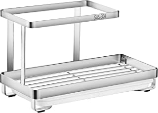 Oyydecor Kitchen Sink Caddy Organizer with Drain Pan Sponge Soap Brush Holder SUS304 Stainless Steel (Silver)