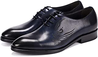 Carved Handmade Oxford Shoes Formal Shoes (Color : Blue, Size : 45)