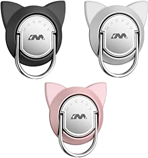 Cat Ring Phone Holder for Magnetic Car Mount, Phone Finger Ring Holder, Finger Ring Stand Compatible for iPhone 11/iPhone 11 Pro/iPhone 11 Pro Max (3 Pack, Black/Silver/Rose Gold)