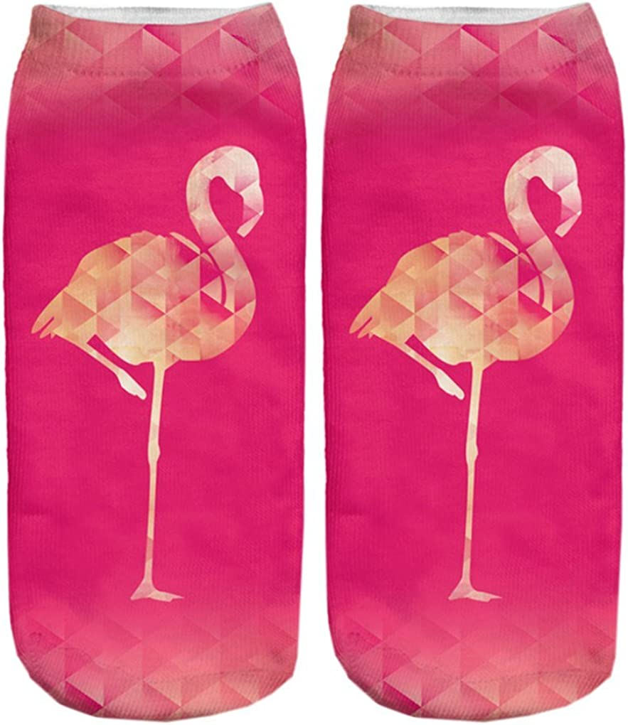 Doxi Pink Flamingo Socks Low-cut Ankle Socks Print Cotton Kawaii Style Free Size