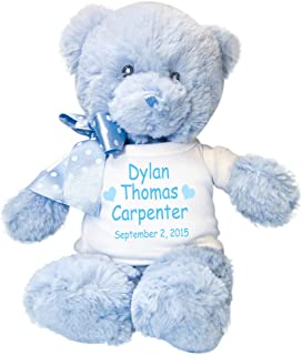 Personalized Blue Teddy Bear for Baby Boy - 12 Inches
