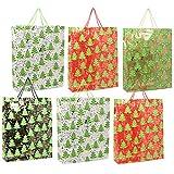 com-four 6X Sac-Cadeau pour Noël, Sacs-Cadeaux Joyeux Noël de différentes Couleurs [Le Choix varie], Sacs en Papier, 41 x 33 x...