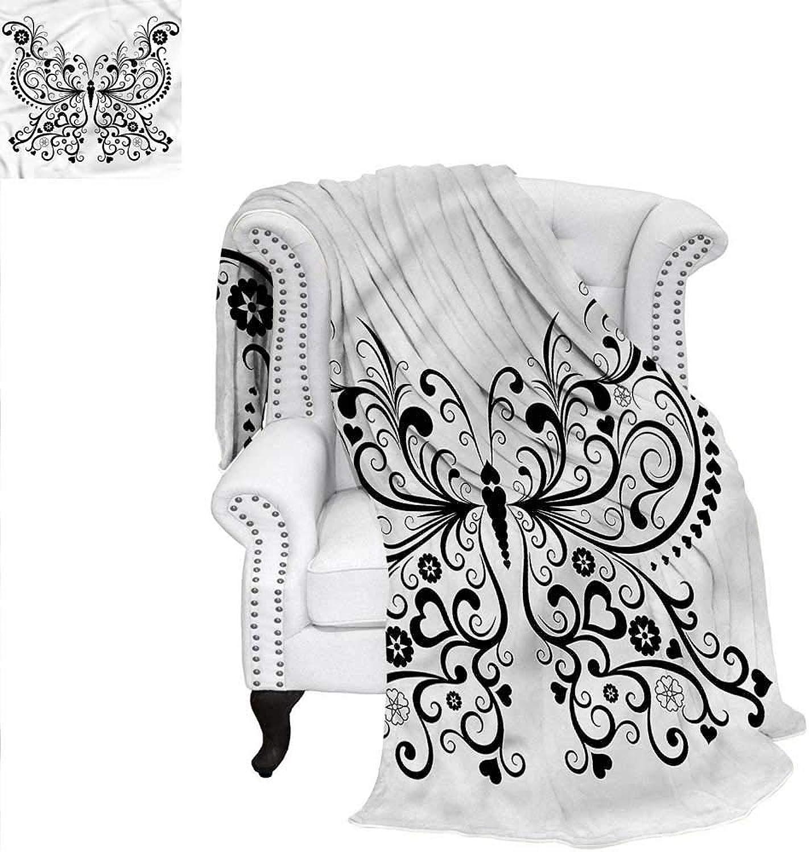 RenteriaDecor Animal Warm Microfiber All Season Blanket Swirled Wing with Flower Weave PatternBlanket 60 x36