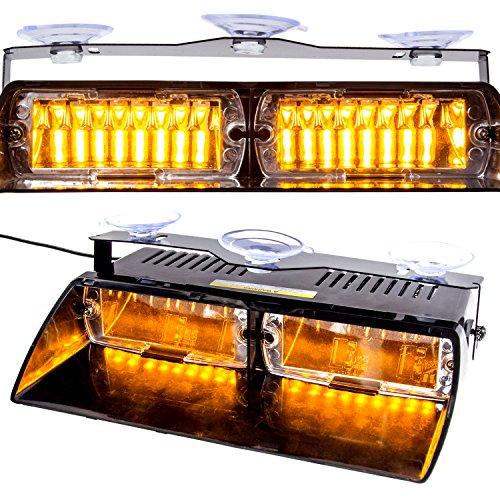 16 LED Parabrezza Strobe Light 12V Lampeggiante Emergenza Faro con Ventosa per Auto Interni Tetto Cruscotto (Ambra)