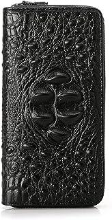 BeniMen's wallet crocodile PU long zipper hand taking men's bag-black