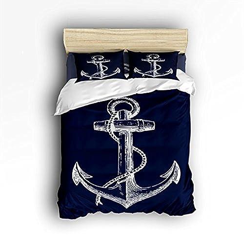3d7bfcd13 Vandarllin King Size Bedding Set- Nautical Navy Blue Anchor Duvet Cover Set  Bedspread for Childrens