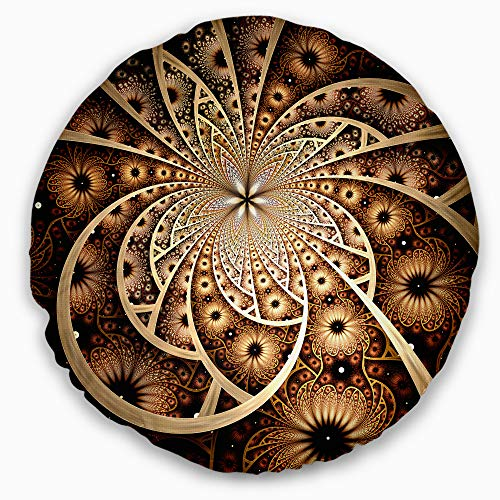 Designart Symmetrical Brown Black Fractal Flower' Floral Throw Round Living Room, Sofa, High Quality pillow insert + Cushion Cover Printed On Both Side 16'