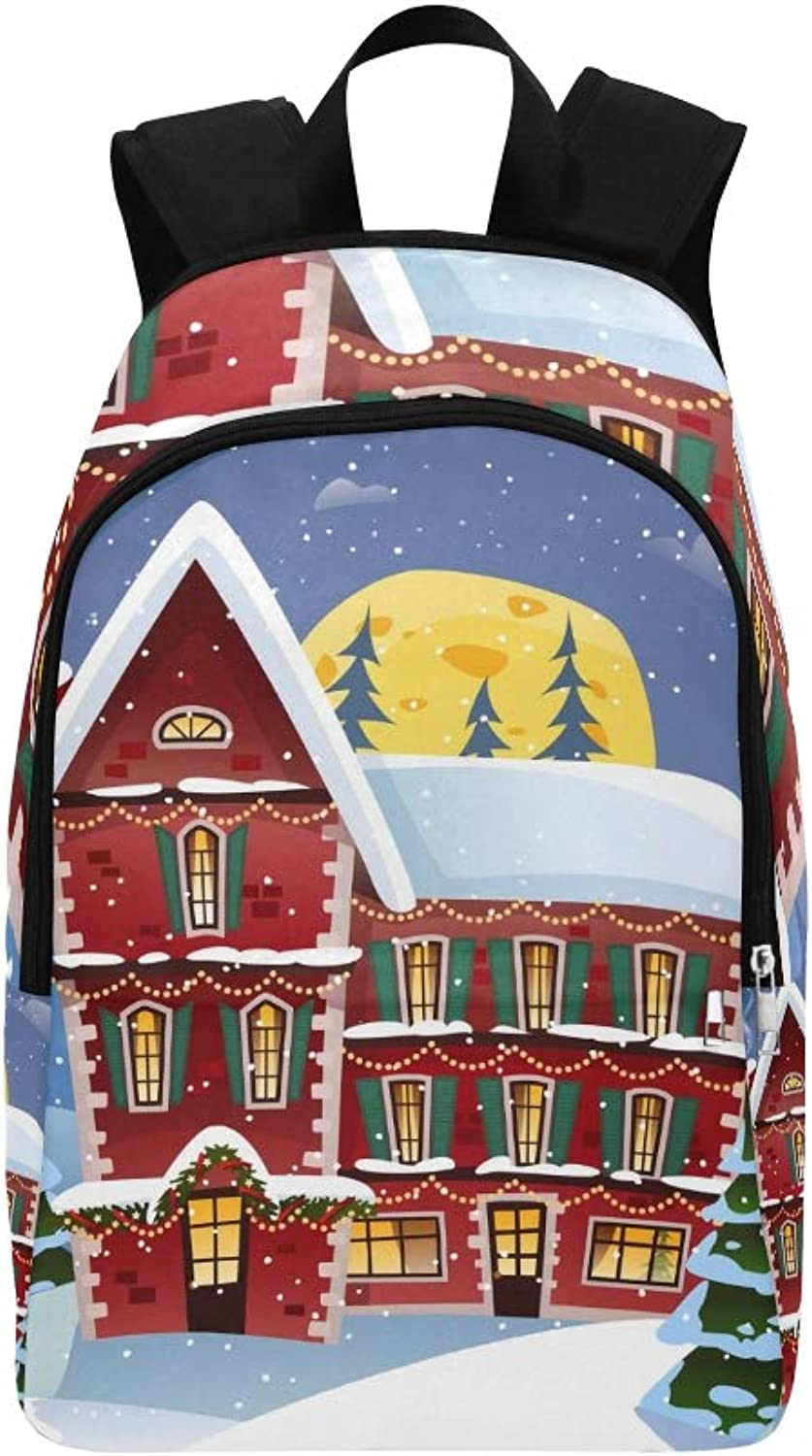 Christmas Night Poster Fairy Tower Snowfall Casual Daypack Travel Bag College School Backpack for Mens and Women