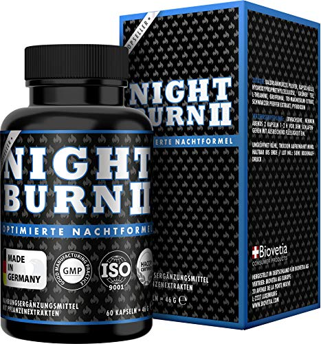 NIGHT BURN | 2 capsules voor de nacht | Succesvolle formule uit de USA, Made in Germany | 60 capsules