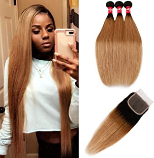 Haha Ombre Brazilian Virgin Hair Straight Ombre Hair 3 Bundles With Closure 2 Tone T1B/27 Dark Roots Honey Blonde Human Hair Bundles Weave With Lace Closure Ombre Hair Extensions 14 16 18+12