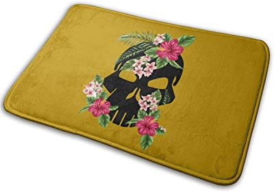 Skull Flower Carpet Non-Slip Welcome Front Doormat Entryway Carpet Washable Outdoor Indoor Mat Room Rug 15.7 X 23.6 inch