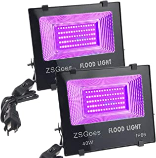 ZSGoes 2 Pack 40W UV LED Flood Black Light Waterproof for Blacklight Party Supplies, Body Paint, Fluorescent Poster, Stage Lighting, Neon Glow, Glow in The Dark, Glue Curing, Aquarium, with US Plug