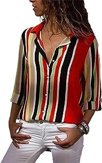 Keaac 女性ブラウスVネックカラーブロックストライプスボタンアップ作業トップシャツ