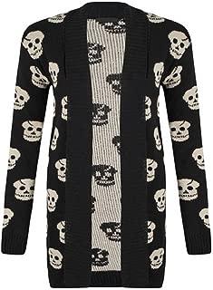 SugerDiva Skull Print Open Knitted Cardigan