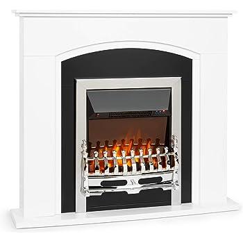 Klarstein Verbier Chimenea eléctrica, 1000 / 2000 W, Regulable LED-InstaFire sin Fuego ni Humo, Mando a Distancia, termostato, Temporizador, detección de Ventanas Abiertas, Blanco