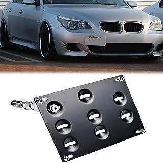 SIZZLEAUTO Front Bumper Tow Hook License Plate Relocator Bracket for BMW 95-98 E36 3-Series, 06-10 E60 5-Series 525i 530i 535i M5, 04-10 E63 E64 6-Series, 06-08 Z4, 01-13 Mini Cooper R55 R56 R57 R58