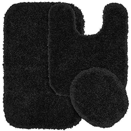 Garland Rug 3-Piece Serendipity Shaggy Washable Nylon Bathroom Rug Set, Black by Garland Rug
