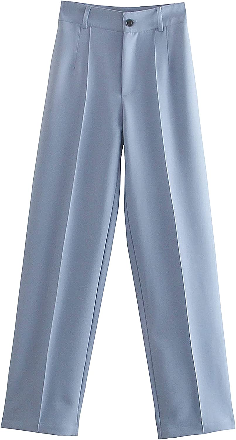 Sholeno Women Straight Loose Pants High Waist Office Casual Fly Female Vintage Trousers
