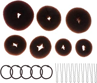 Mobestech 22pcs Hair Updo Bun Kit Hair Styling Maker U Shaped Clips Elastic Hair Ropes Hairdressing Accessories Coffee