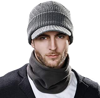 Unisex Knit Beanie Visor Cap Winter Hat Fleece Neck Scarf Set Ski Face Mask 55-61cm