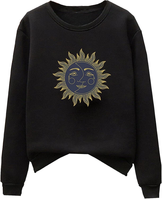 Women's Casual Long Sleeve Pullover Retro Sun Moon Print Sweatshirt Solid Falling Shoulder Blouse Crew Neck Top