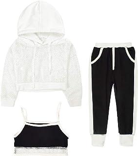Girls' Clothes Sets Kids Pants Set 3pcs Outfits Mesh Hoodie Sweatshirt Tank Crop Tops Athletic Sweatpants Sets