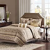 Madison Park Quilt Traditional Damask Design All Season, Lightweight Coverlet Bedspread Bedding Set, Matching Shams, Pillows, King/Cal King(104'x94'), Bellagio, Jacquard Brown/Gold