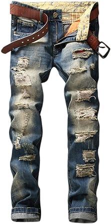 OKilr Pjik Men's Retro Dark Blue Straight Fit Distressed Destructed Ripped Washed Jeans