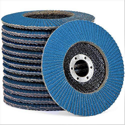 20 discos de abanico profesionales, color azul, diámetro de 125 mm, paquete mixto (5 x grano 40-60 - 80-120)