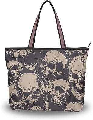 Große Schultertasche mit Totenkopf-Muster, Handtasche, Strandtaschen für Damen und Mädchen
