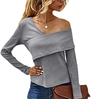GUOCAI Women's Tops Slim Fit One-Shoulder Long Sleeve Wrap Ribbed Blouse T Shirts