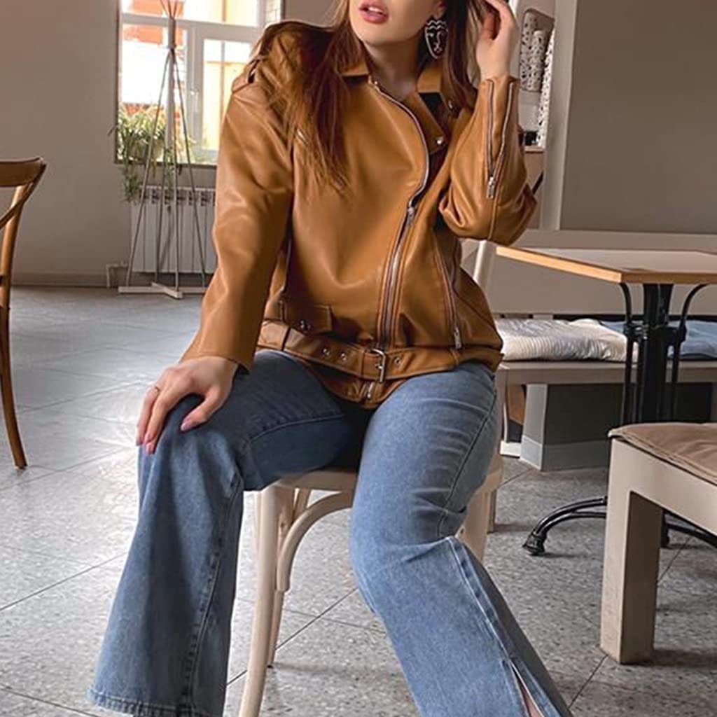 HBIN Spring Autumn Faux Leather Jackets Women New Loose Casual Coat Female Drop-Shoulder Motorcycles Outwear with Belt (Color : Beige, Size : S Code)