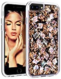 HoneyAKE Case for iPhone 7 Plus Case iPhone 8 Plus Case Handmade Genuine Shells Glitter Bling Shock Absorbing Hybrid Protective Phone Case for iPhone 6 Plus 6s Plus 7 Plus 8 Plus, Rose Gold
