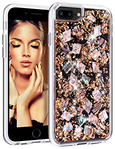 of price on iphone 7 plus dec 2021 theres one clear winner HoneyAKE Case for iPhone 7 Plus Case iPhone 8 Plus Case Handmade Genuine Shells Glitter Bling Shock Absorbing Hybrid Protective Phone Case for iPhone 6 Plus 6s Plus 7 Plus 8 Plus, Rose Gold
