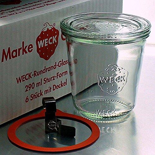 6 Weck Einkochgläser 290ml Sturzform/Sturzglas RR80 mit Glasdeckel, Ringen und Klammern (Mit Glasdeckel, Ringen und Klammern)