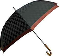 NOBEL(ノーベル) メンズ 雨傘 長傘 日本製 ジャンプ ワンタッチ 8本骨 甲州産先染め朱子格子織り 市松柄 スタイリッシュ おしゃれ