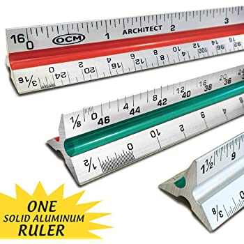 OCM 1 Triangular Architect Scale Ruler (Professional Grade Solid Aluminum) Color Coded 12 Inch Architectural Scale (Imperial Measurements) - Ideal for Architects, Engineers, Draftsman and Students