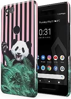Glitbit Compatible with Google Pixel 2 Case Crazy Cute Panda Thin Design Durable Hard Shell Plastic Protective Case Cover