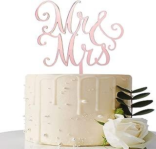 Mirror Rose Gold Mr & Mrs Cake Topper - for Bridal Shower/Wedding Shower/Engagement/Bachelorette Party Decorations