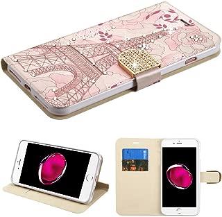 Case+Tempered_Glass+Stylus, PU Leather Fits Apple iPhone 7 Plus/8 Plus (Also Fits 6 Plus/6S Plus) Diamond Wallet Eiffel Tower Diamante with Diamante Belt Purse Clutch Pouch