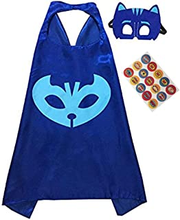 Superhero Cape and Mask Costume for Kids with Stickers