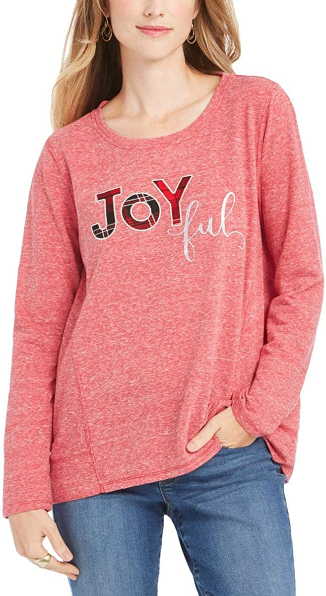 Style & Co. Womens Plus Joyful Heathered Graphic Sweatshirt Red 1X