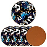 6PCS Coasters Set Sport Football Leather Coasters for Drinks, Coffee Suitable for Kinds of Mugs and Cups Great Gift for Housewarming Room Decor