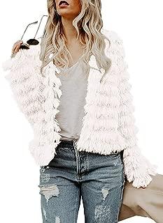 Lovaru Womens Coat Long Sleeve Open Front Parka Shaggy Faux Fur Coat Jacket Parka by