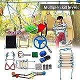 LLXY Juego de Entrenamiento de obstáculos de línea de Cuerda de Escalada Colgante para niños, Kit de Curso de Guerrero Ninja árbol Adecuado para jardín al Aire Libre