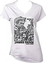 teesquare1st James Dean Dream Quote Camiseta Blanca para Mujer de algodón