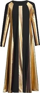 IBAKOM Girls Metallic Gold Praise Dance Robe Dresses Liturgical Church Loose Fit Full Length Color Block Worship Dancewear